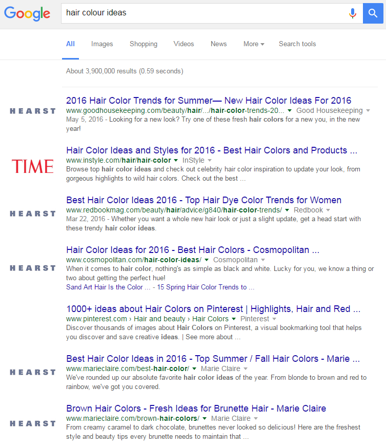 search results for hair colour ideas search that show hearst media owning 5 of the top 7 results and time 1